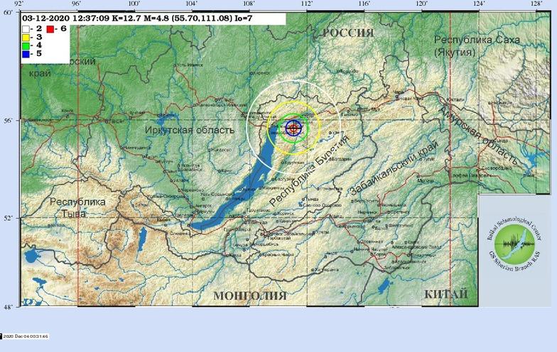 Землетрясение в Бурятии в районе Северобайкальска 3 декабря