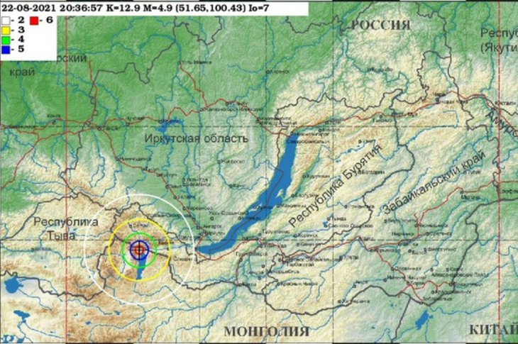 Землетрясение сегодня 23 августа в Иркутской области 3 балла.