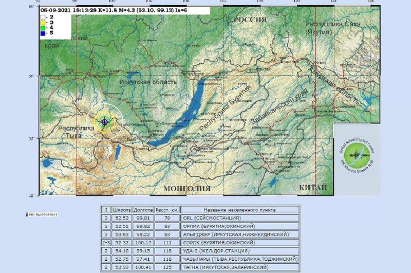 Второе за сутки землетрясение произошло в Иркутской области ночью 7 сентября.